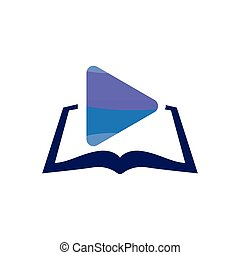 Media play with book logo icon vector