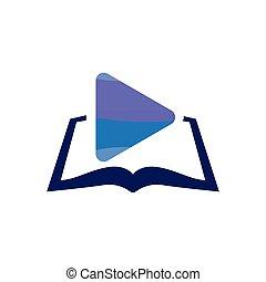 Media play with book logo icon vector