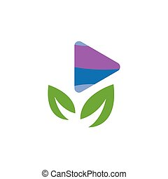 Media play with leaf green logo icon vector