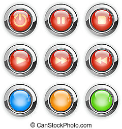 media player buttons - Vector illustration of round media...