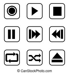 Media player buttons icons on white background.
