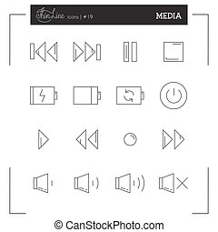 Media Player Buttons, Music interface and more thin line icons set.