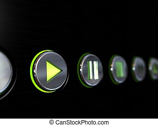 Media player buttons on a brushed metal surface with the play button glowing as if turned on