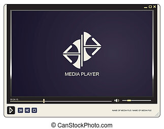 Media player with logo on display