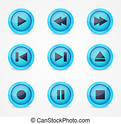 Media player glossy buttons collection - Media player ...