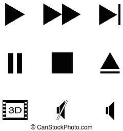 media player icon set