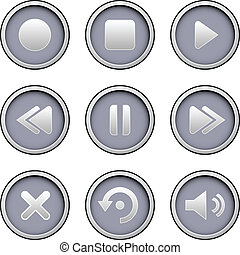 Media player icon set - Media player icons on modern vector ...