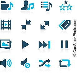 Media Player Icons -- Azure