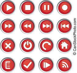 buttons - Media player icons - red rounded buttons. Set of...