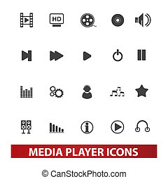 media player icons set, vector
