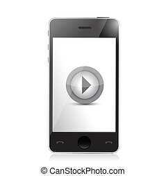 media player on a smartphone. illustration