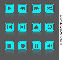 Media player square buttons set - Media player square...