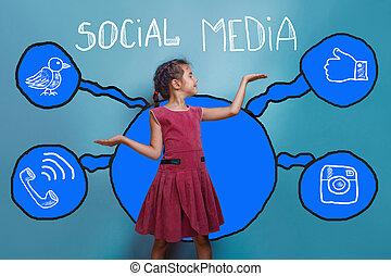 media, presa a terra, schizzo, sociale, ragazza, set, rete, adolescente, infographics