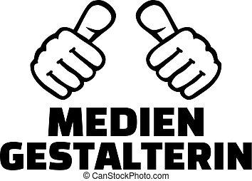 media, projektant, samica, kciuki, niemiec
