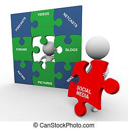 media, puzzle, sociale, 3d, persone