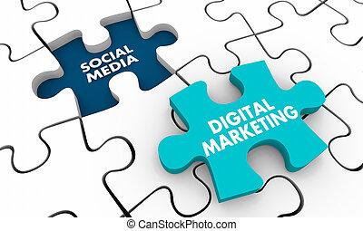 media, puzzle, sociale, illustrazione, digitale, buco, pezzo, marketing, 3d
