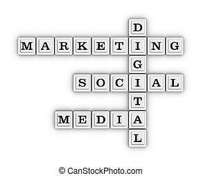 media, raadsel, digitale , kruiswoordraadsel, marketing, sociaal