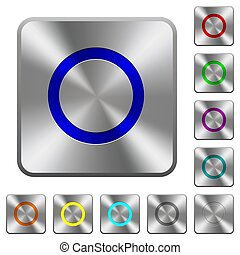 Media record rounded square steel buttons