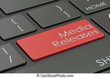 media releases button, red key on keyboard. 3D rendering