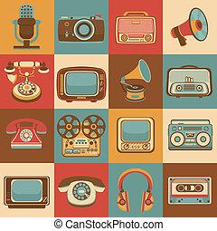 media, retro, ikonen