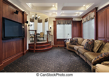 Media room with step up cove - Media room in luxury home...