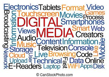 media, słowo, chmura, cyfrowy