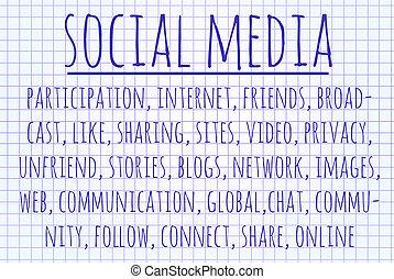 media, słowo, chmura, towarzyski