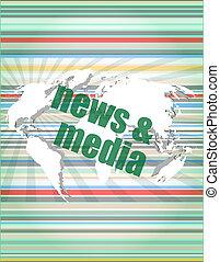 media, schermo, parole, digitale, premere, notizie, concept:
