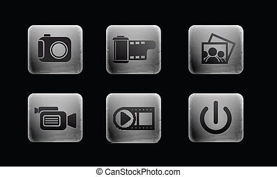 media, set, icone