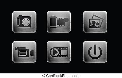 media, set, iconen