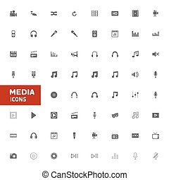 media, set, pictogram