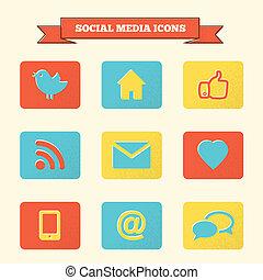 media, set., sociaal, iconen