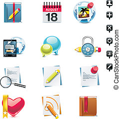 media, set., vettore, sociale, p.3, icona