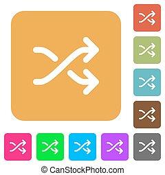 Media shuffle rounded square flat icons
