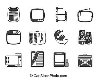 media, silhouette, iconen