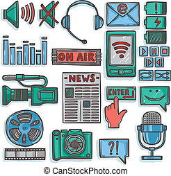 Media sketch icons set color