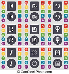 Media skip, SMS, Reload, File, Checkpoint, Information, Arrow right, Survey icon symbol. A large set of flat, colored buttons for your design. Vector