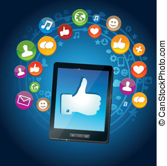 media, socail, pc, tablet, iconen