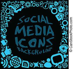 media, sociaal, achtergrond, pictogram
