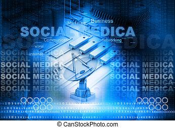 media, sociaal, concept