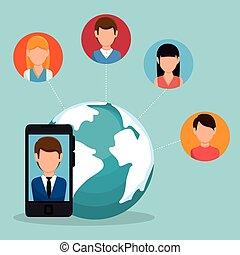 media, sociaal, d, netwerk, pictogram