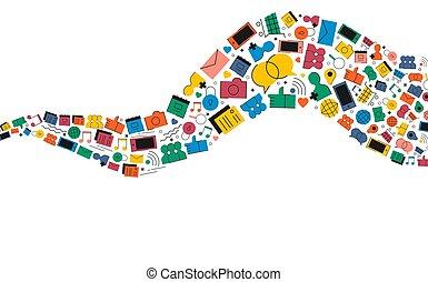 media, sociaal, illustratie, vorm, internetten ikoon