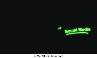 media, sociaal, neon, scribblings