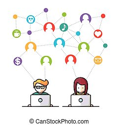 media, sociaal, netwerk, mensen