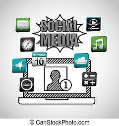 media, sociaal, netwerk, pictogram
