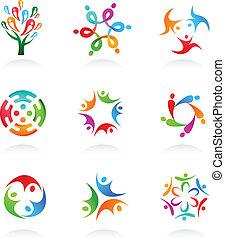 media, sociaal, netwerk, verzameling, iconen