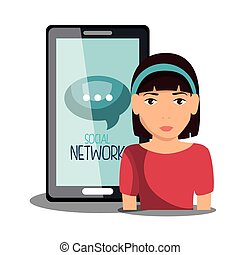 media, sociaal, netwerk, vrijstaand, pictogram