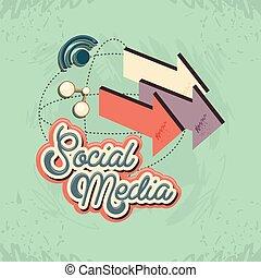 media, sociaal, pijl, marketing