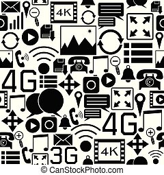 media, sociaal, seamless, achtergrondmodel, icon.