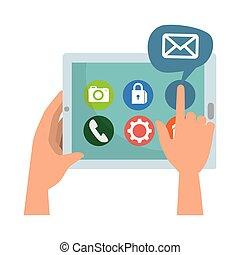 media, sociaal, tablet, iconen